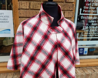White Red and Black Plaid Print Capelet