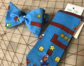 Nintendo Mario Bros Neckties in bow tie, skinny tie, and standard tie styles, kids or adult sizes