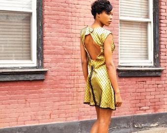 Yellow and Black Swiss Dot Lace Dress