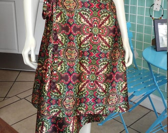 Long Ballet Skirt in Fluid Silky Geo-Paisley Print with Wrap Closure