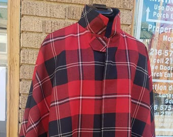 Red and Black Plaid Print Cape