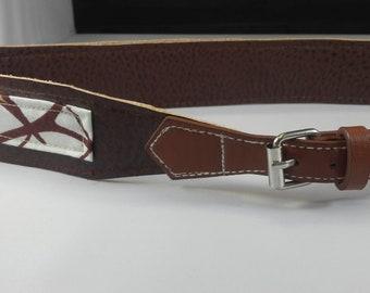 Vegan Leather and Ankara Belt with Adjustable Buckle Closure