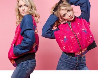 African Pink Kente Cloth Reversible Unisex Bomber Jacket
