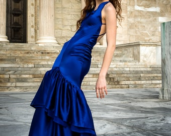 Bold Blue Couture Silk Charmeuse Evening Gown with Bias Bodice and Flared Chiffon and Charmeuse Mermaid Hem