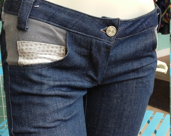 Tidal Cool Jeans with Silver Mesh Accents and Dark Blue Denim