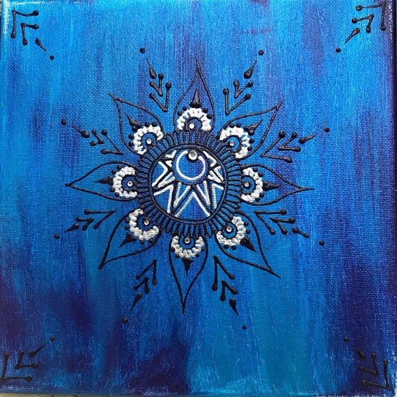 Acrylic On Canvas Henna Painting Etsy