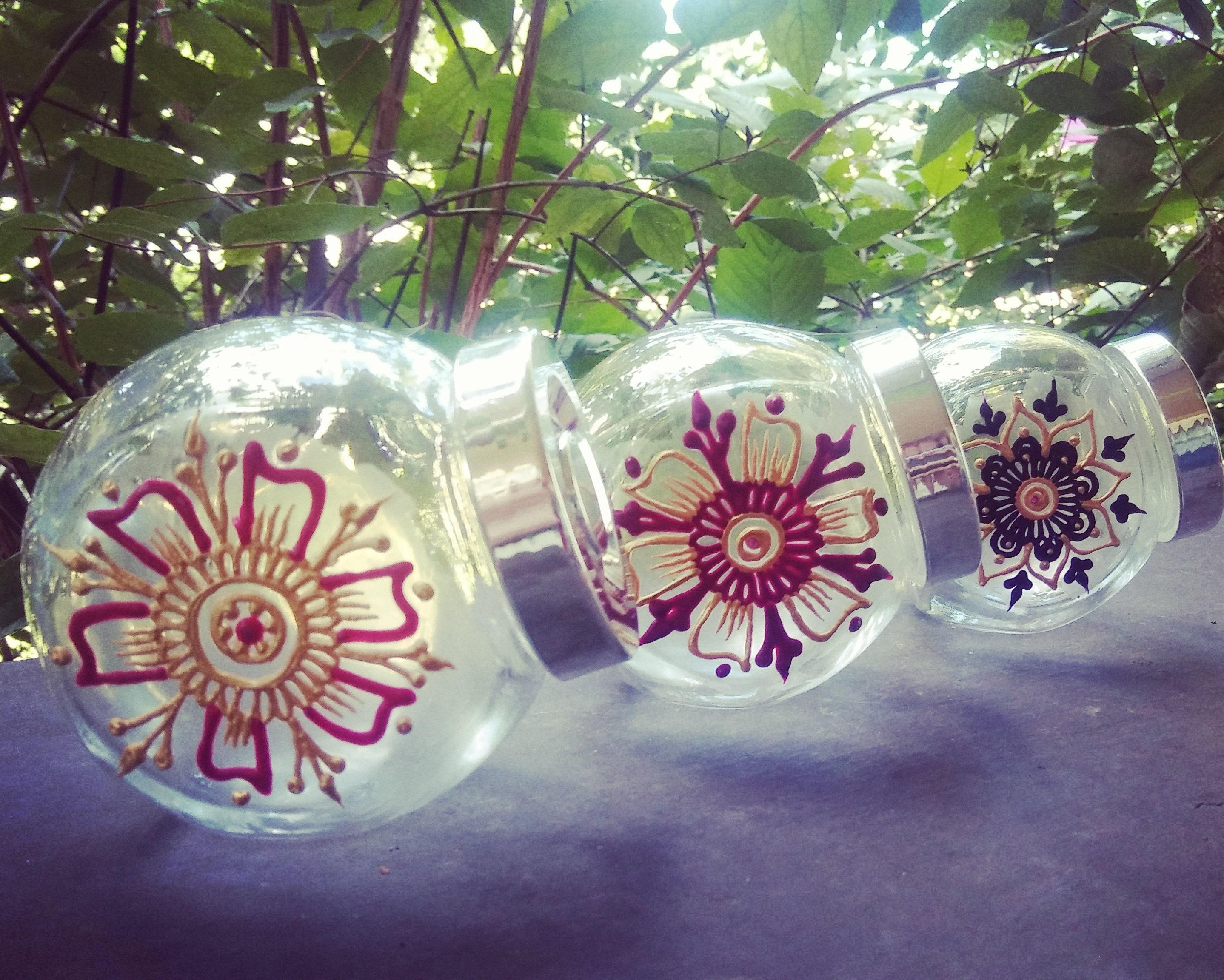 Screw Top Mini Jars W Hand Painted Henna Designs