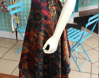 Long Ballet Skirt in Fluid Silky Multicolored Print with Wrap Closure