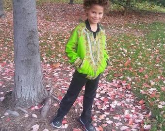 Dashiki Reversible Unisex Kids Lime Bomber Jacket made from Wax Block Cotton