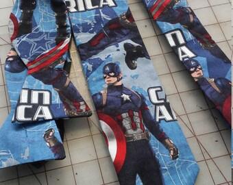 Marvel Captain America Neckties in adult skinny tie, kids bow tie and skinny tie