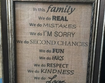 In This family saying on burlap