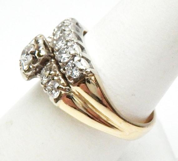 14 kt Diamond Wedding Set Soldered Together Two T… - image 3