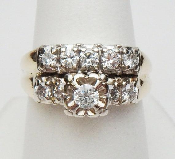 14 kt Diamond Wedding Set Soldered Together Two T… - image 2