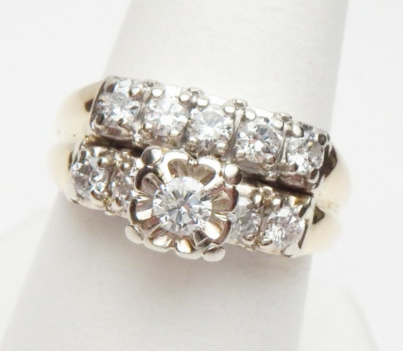 14 kt Diamond Wedding Set Soldered Together Two T… - image 1
