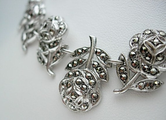 Marcasite Roses Necklace