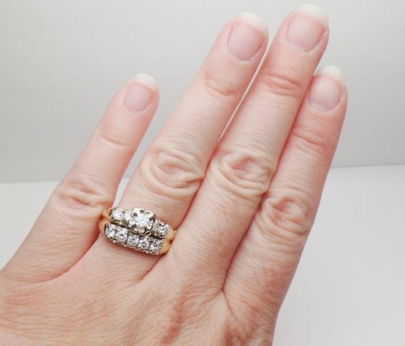 14 kt Diamond Wedding Set Soldered Together Two T… - image 5