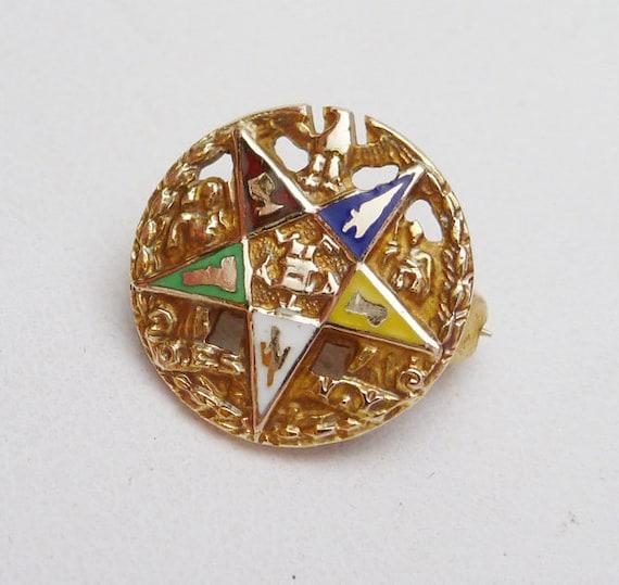 10k Eastern Star Enamel Pin 1920s