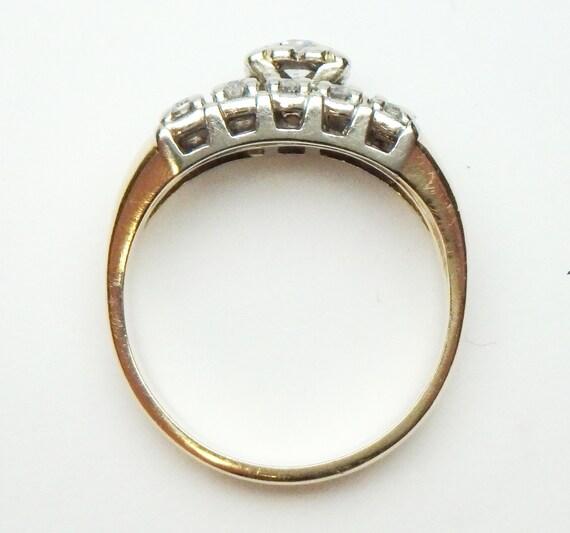 14 kt Diamond Wedding Set Soldered Together Two T… - image 4
