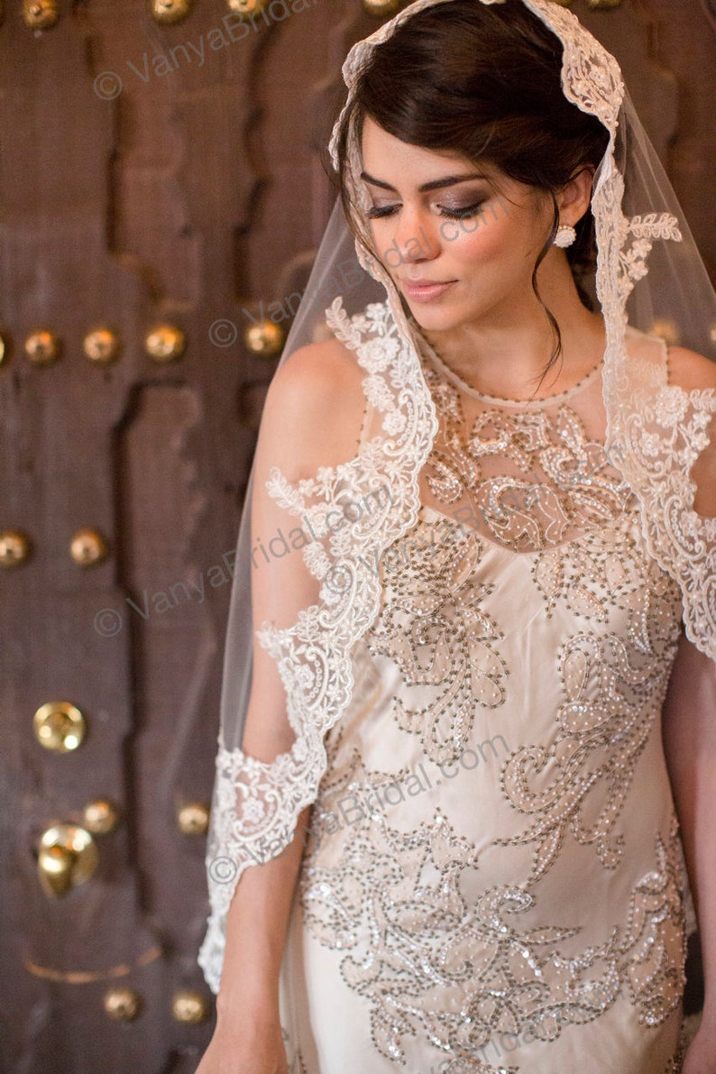 Beaded Lace Wedding veil Catholic bridal  beaded lace veil 90 long with high end exclusive lace edge mantilla style Spanish veil