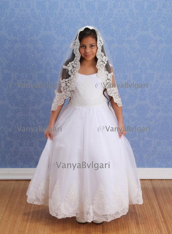 Communion Pencil Edge Veil first communion veil white catholic communion veil white lace communion veil