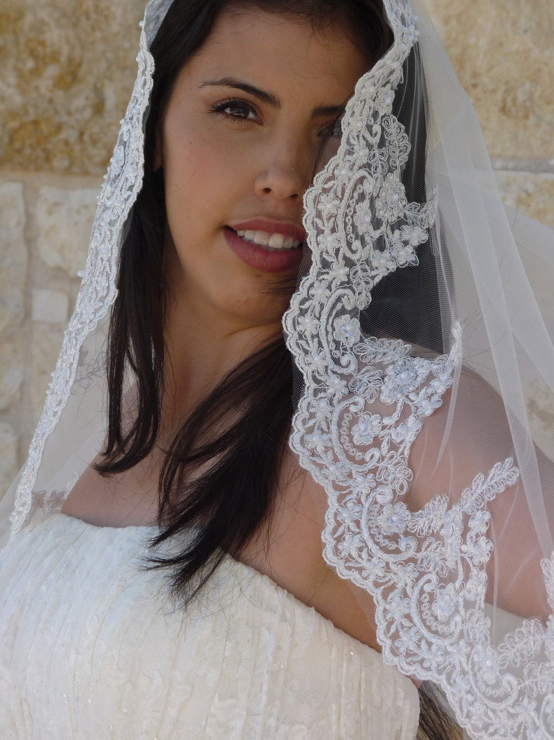 classic mantilla look Cathedral lace Mantilla veil with Beaded Lace edge veil in Spanish style for Catholic style wedding
