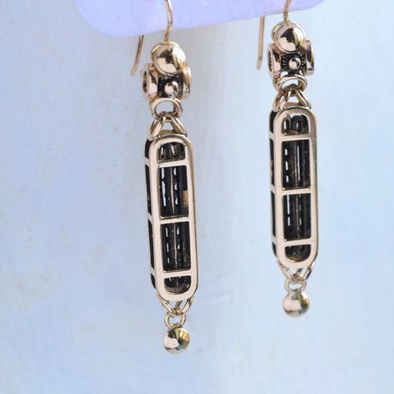 Gold Steampunk dangle earrings, helix earrings