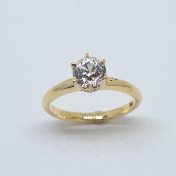 White Sapphire Solitaire Ring,  white sapphire ri… - image 1