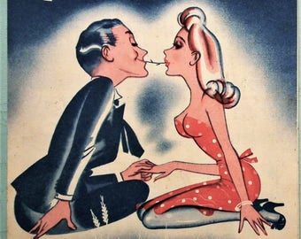 Vintage 1940s Sheet Music Chewing a Piece of Straw 1945 WWII Second World War era romantic couple in love - woman in red dress - 40s fashion