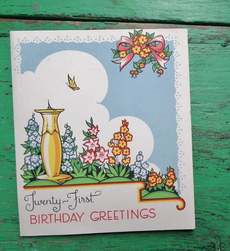 Vintage 21st Birthday Greetings Card Garden Scene Sundial Flowers 30s 1930s Art Deco Era UNUSED