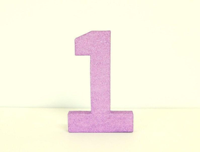 Lilac, Light Purple Glittered Numbers, Varnish Topcoat, Numbers 0 to 9,  Light Purple, Stand Alone 8 Inch Tall Paper Mache, Choose Numbers