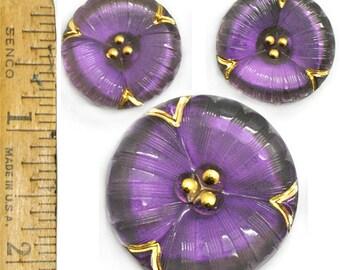 35mm 22mm Vintage Czech Glass 2 SIZES Deep Purple Flower Pansy Buttons 3pc  SET
