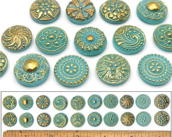 Some with Shanks Some Flat Collection of Antique GLASS BUTTONS    22 Glass Buttons    Different Sizes