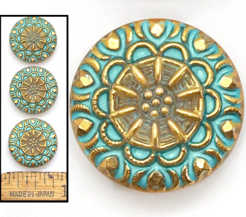 Gold Lacy MANDALA Burst Flower Buttons 3pc 18mm Vintage Czech Art Glass Mate Turquoise