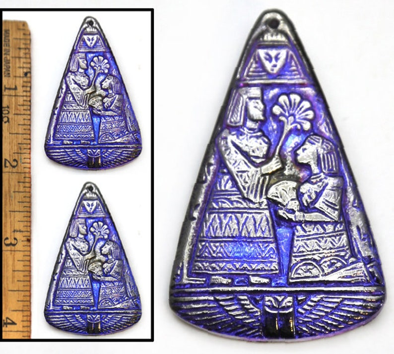 2pc XL 2 Focal Vintage Czech Glass Egyptian Revival Blue AB Silver PHAROAH Triangle Buttons