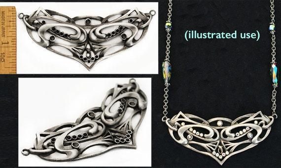 XL 3 14 Czech Art Nouveau Undulating Tribal Celtic Knot Focal STATEMENT Silver Pendant DIY Necklace Link