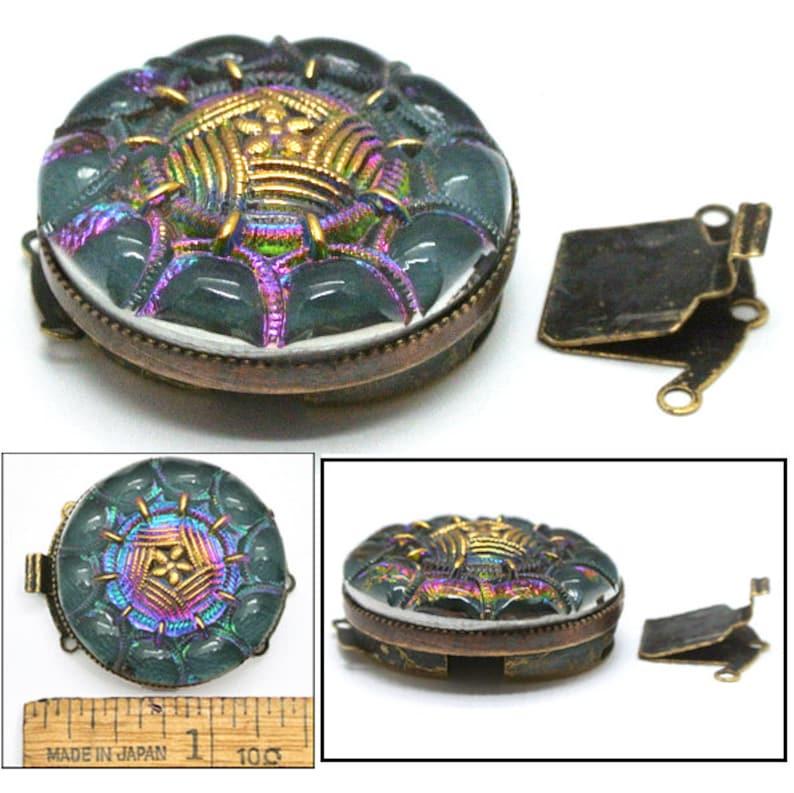 32mm Czech Glass Purple Teal AB PANSY Flower Brass Multi 3-Strand Button Jewelry CLASP