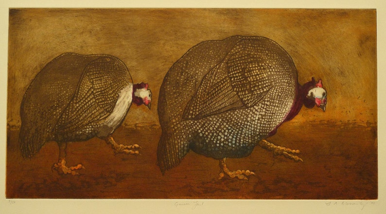 Guinea Fowl Limited Edition Etching print image 0