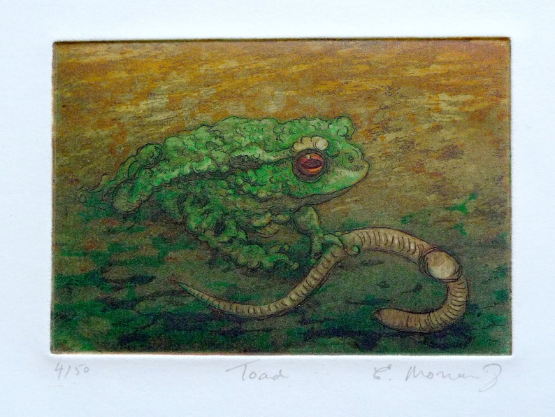 Toad Christmas Toad Etching miniature print limited image 0
