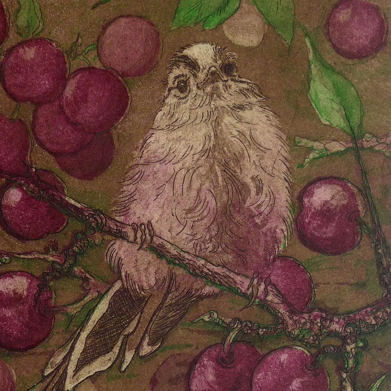 Long-tailed Tit  Autumn etching limited edition wildlife image 0