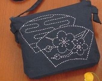 Hand Embroidery Ume Design,  Blue Plum Bag, Sashiko Shoulder Bag Kit Beginner, Chic Japanese Bag Kit, Embroidery DIY Kit,Easy Sashiko Stitch