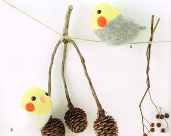 Kawaii Wool Felt Bird Doll Patterns, Japanese Needle Felting Pattern Book, Cute Bird Shaped Felting Dolls, Easy Felting Tutorial, B1860