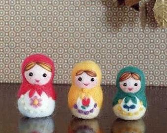 Needle Wool Felt Matryoshka Mascot Doll Patterns, Japanese Craft Book, Easy Felting Tutorial, Russian Nesting Dolls, B611