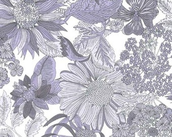 Liberty Tana Lawn Fabric, Liberty of London, Liberty Japan, Angelica Garla, Cotton Print Scrap,  Floral Design, Quilt, Patchwork, kt1034c