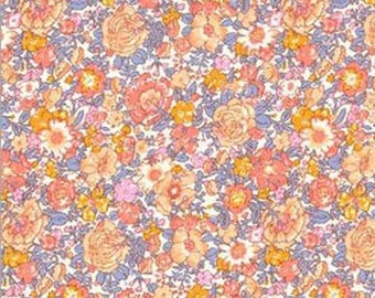Amelie, Liberty Tana Lawn Fabric, Liberty of London, Liberty Japan, Cotton Floral Print Scrap, Orange Flower Patchwork Quilt Scrap, kt8023d