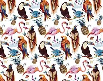Birds of Paradise, Tropical Bird Fabric, Liberty Lawn Fabric, Liberty of London, Liberty Japan, Fabric Swatch, Cotton Print Scrap, 7173c7ss