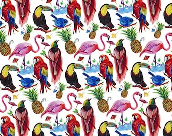 Birds of Paradise, Tropical Bird Fabric, Liberty Lawn Fabric, Liberty of London, Liberty Japan, Fabric Swatch, Cotton Print Scrap