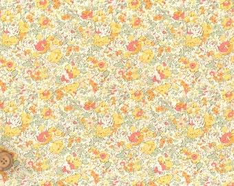 Liberty Japan, Claire-Aude, Yellow, Liberty Tana Lawn Cotton Fabric, Liberty of London,Home Decor Floral Print Scrap, Flower Patchwork Quilt