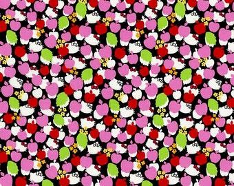 Liberty Tana Lawn Fabric - Liberty Japan, Hello Kitty Apple Tree, Liberty Print Orange Cotton Scrap, Kawaii Patchwork, Quilt