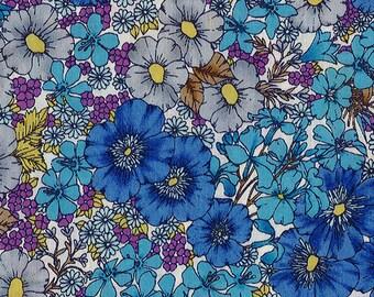Gloria Flowers, Liberty Tana Lawn Fabric, Liberty of London, Liberty Japan, Blue Floral Print Fabric, Flower Patchwork Quilt Scrap, kt10480x