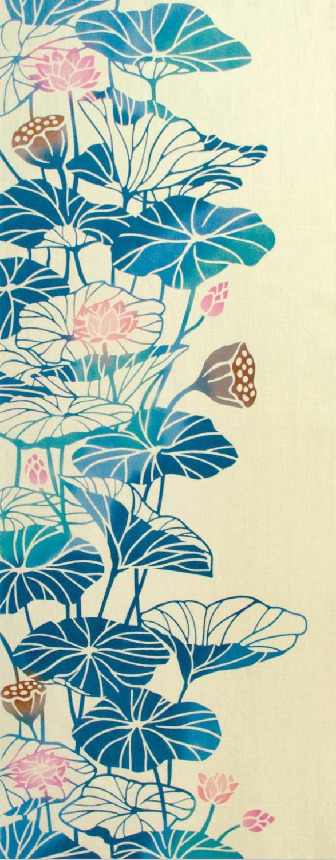 Japanese Traditional Art Tapestry Lotus Flower Japanese Etsy